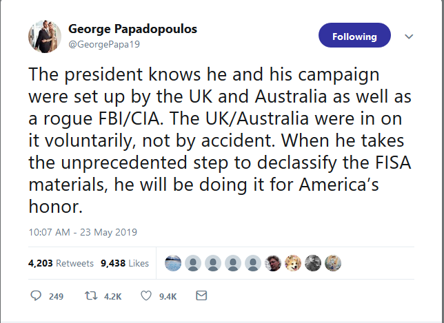 Australia were spying on Trump Papadopoulos